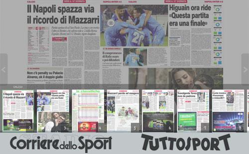 schermata Corriere dello Sport e TuttoSport