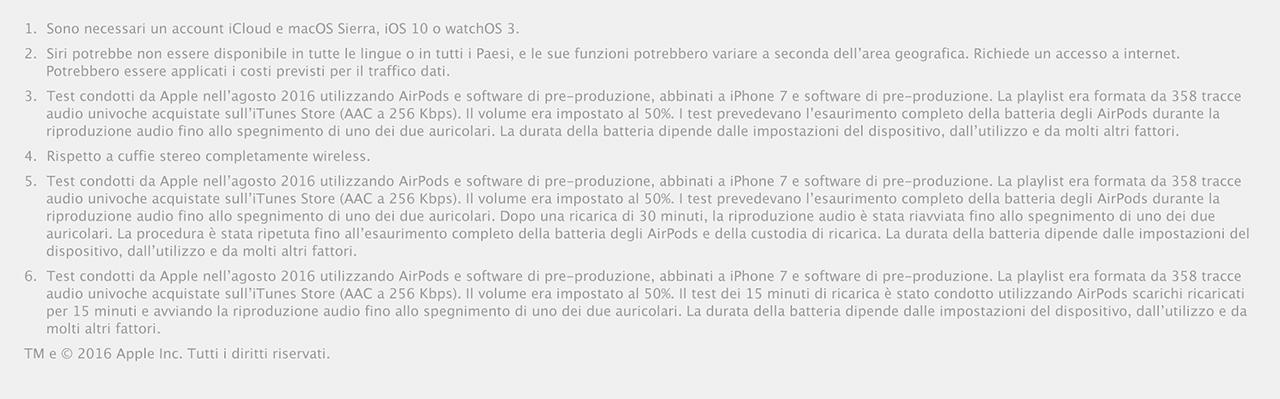 Apple AirPods dettagli tecnici