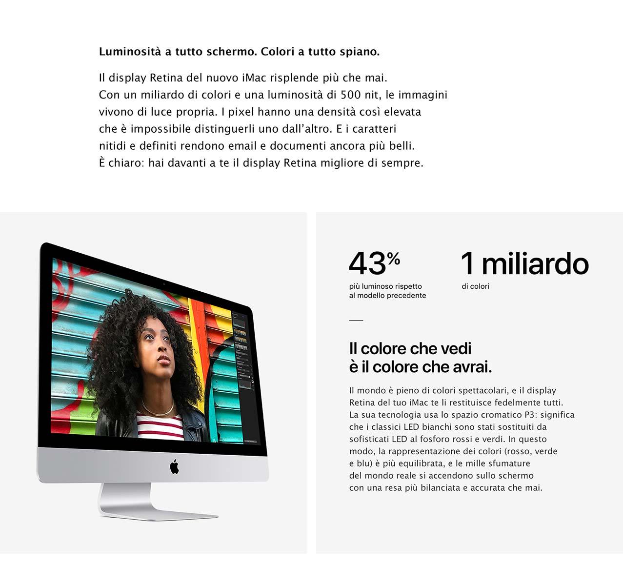 iMac luminosità schermo