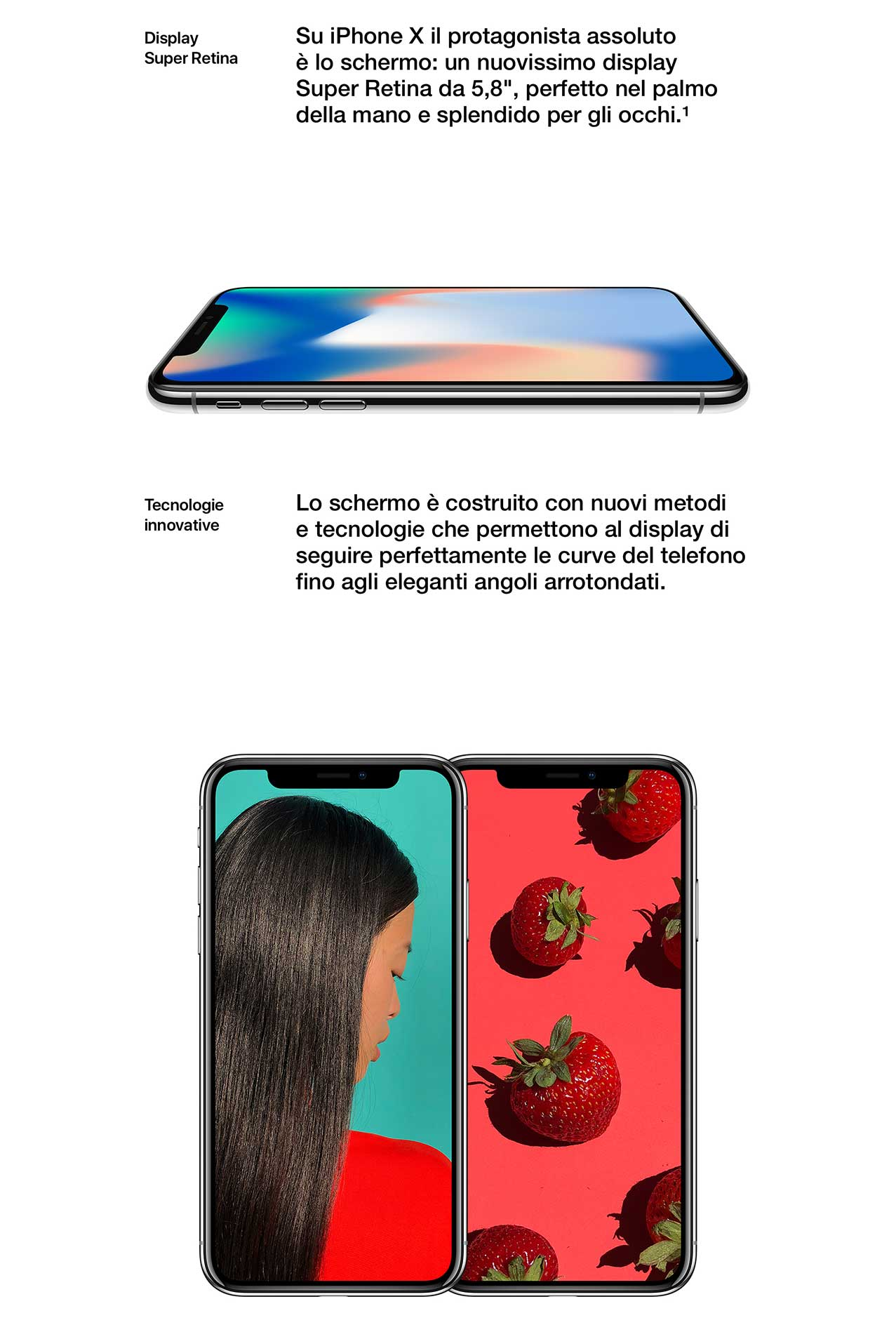 iPhone X display 5.8""