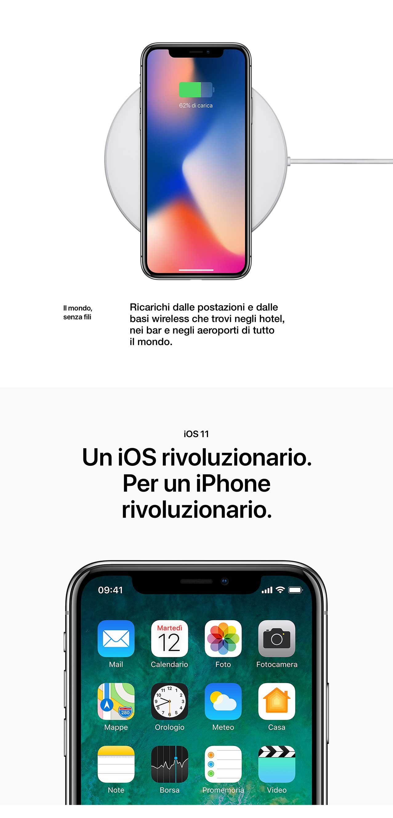 iPhone X ricarica wireless