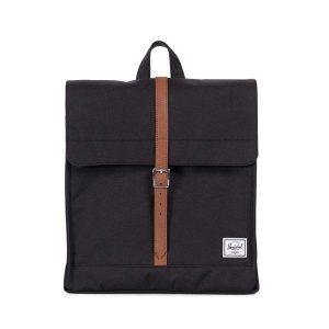 Herschel Zaino City Mid-Volume Black/Tan Synthetic Leather