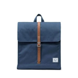 Herschel Zaino City Mid-Volume Navy/Tan Synthetic Leather