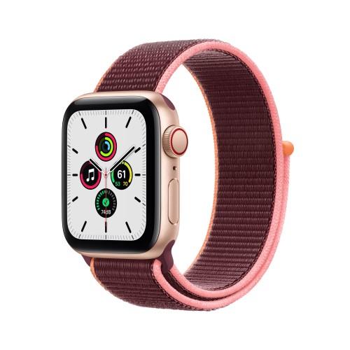 Apple Watch SE Cell 40mm Alluminio Oro Cinturino Sport Loop Prugna