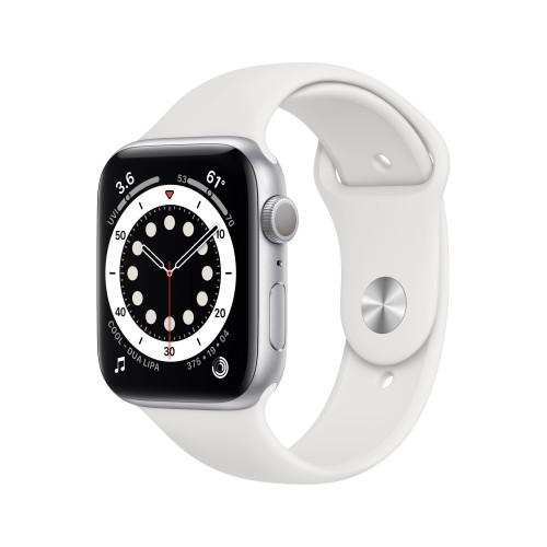 Apple Watch Serie 6 Gps 44mm Alluminio Silver Cinturino Sport Bianco