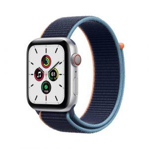 Apple Watch SE Cell 44MM Alluminio Argento Cinturino Sport Loop Blu Atlantico