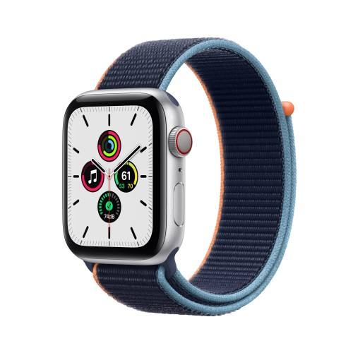 Apple Watch SE Cell 44MM Alluminio Argento Cinturino Sport Loop Blu Atlantico